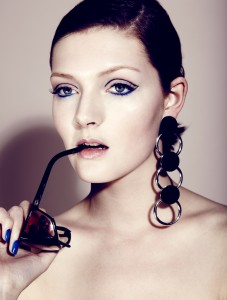 Blue makeup beauty shoot. Makeup and Hair - Veronica Peters Photography Barnaby Newton Styling - Francesca Fasan