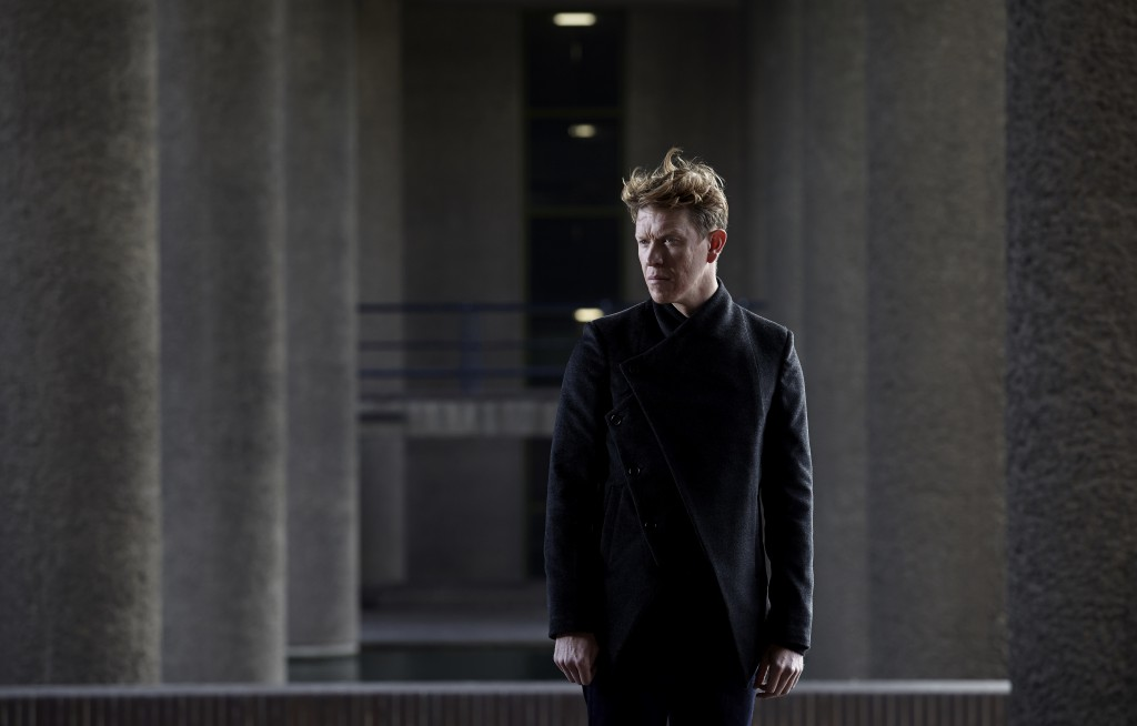 Actor, Sam Spruell modelling in photoshoot at the Barbican in London by photographer, Skott Kershaw