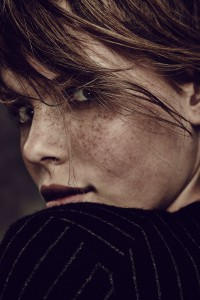 Freckles in fashion. Beauty image. Photography by Barnaby Newton. Makeup by Veronica Peters. Hair by Dave.
